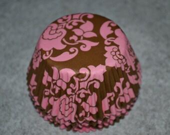 75 Pink & Brown Damask Cupcake Standard Cupcake Liners/Cupcake Liners/Cupcake Liners/Cupcake/Liners/Pink Cupcake Liners