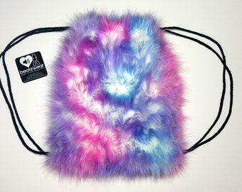 MADE TO ORDER FuZzy backpack light bubblegum tie dye fluffies rave bag festival faux fur purse hippie trippy furry drawstring backpack