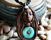 Chrysocolla Goddess Necklace. Handcrafted Clay and Gemstone Necklace.