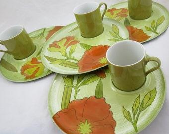 Vintage Snack Set, - Poppy Dishes - Party Plate Set - Orange Poppy - Glamper Dishes - Glamping Dishes - Free Shipping - 12OTT14