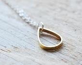 Teardrop Necklace - Rain Drop Necklace - Geometric Simple Modern Jewelry - Brass Raindrop Pendant - Gift For Women