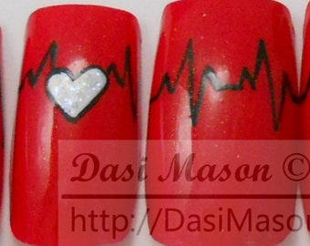 Red and White Heartbeats Instant Acrylic Nail Set
