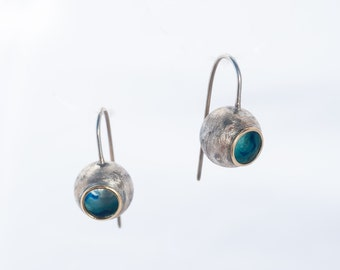 Sterling silver dangle Earrings - Blue dangles - Round earrings - Marina Collection