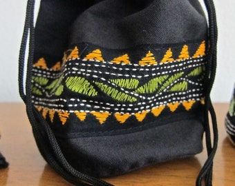 Kantha Drawstring Bag -- Black with Green Leaves