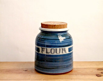 Stunning Vintage Pottery Flour Storage Jar by Alan Frewin in Blue and White