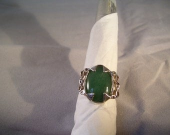 Green Aventurine in Sterling Silver Ring - Size 7