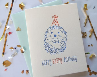 Happy Birthday Hedgehog letterpress card