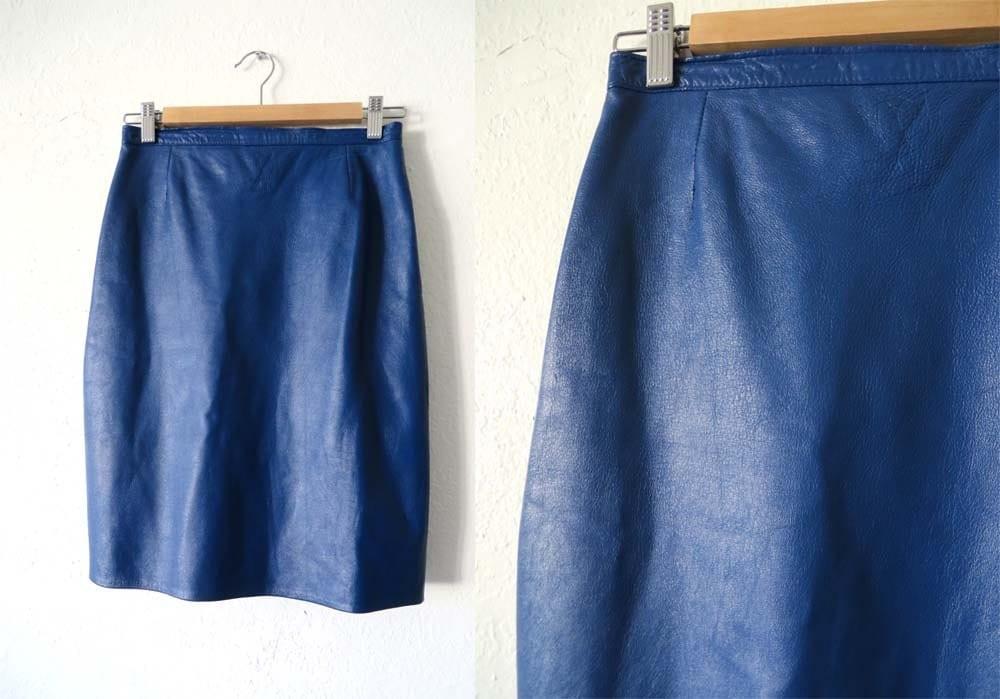 90s royal blue leather pencil skirt mini skirt womens size s