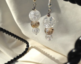 Dangle Pierced Earrings Silver Clear Crackle Glass and Smokey Taupe Crystals