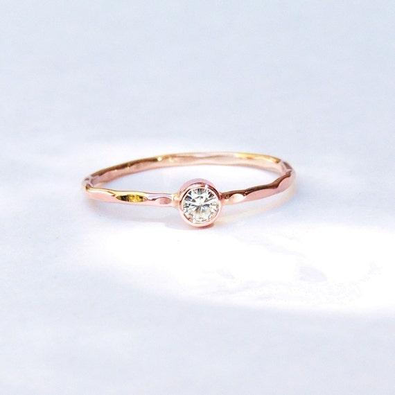 Engagement Ring Dainty Delicate Gold Ring Moissanite White