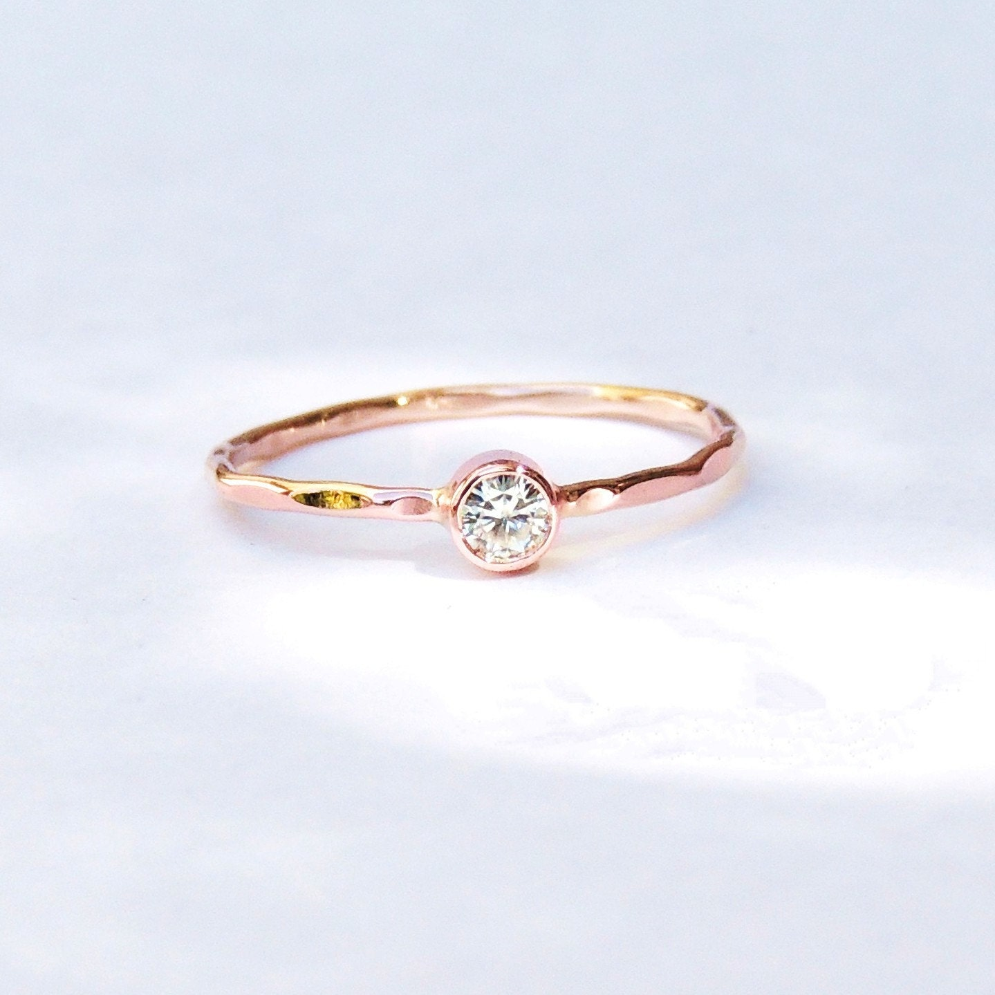 engagement ring dainty delicate gold ring moissanite white