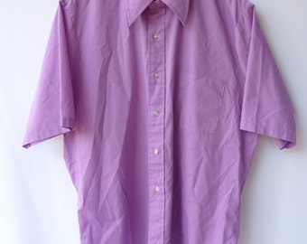 Vintage 60s 70s Men's Shirt - Lilac / Lavender Poly-Cotton - Kent by Arrow - L / XL