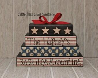 Personalized wood block set - family name blocks - newlyweds - family tree