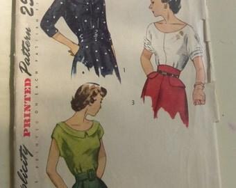 Vintage Simplicity Pattern 2799 Junior Size 13 Blouses