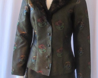 Vintage two piece suit faux fur neckline Asian Inspired fabric made in USA