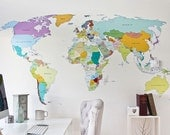 Printed World Map self adhesive high detail quality wall decal [includes map pins in a colour of your choice]