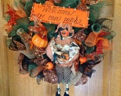 pumpkin girl wreath deco mesh welcome to our patch fall autumn gift home door wall ribbon button bead legs unique