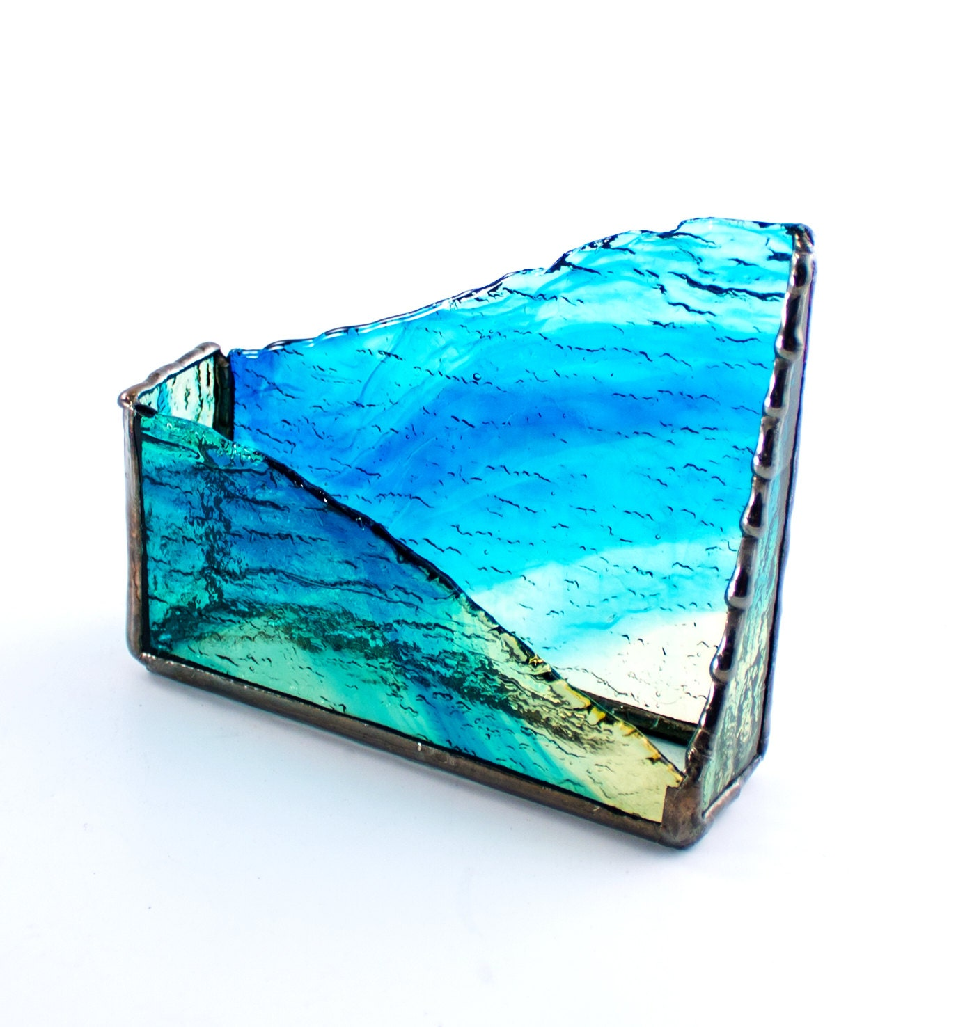 unique desktop business card holder blue gold stained glass