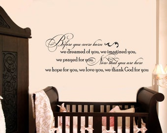 Before You Were Born Baby Nursery Vinyl Wall Lettering Decal LARGE Size Options Decals