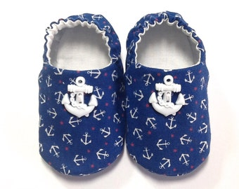 Nautical Baby Boy Shoes with Anchors, 0-6 mos. Baby Booties, Soft Sole Shoes, Crib Shoes, Sailor Shoes, Soft Baby Booties, Baby Boy Gift