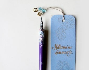 Italian poetry bookmark,  Ungaretti, M'illumino d'immenso, calligraphy