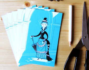 5 cards with the illustration of a funny Victorian girl (no envelopes)