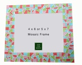 Colorful Mosaic Picture Frame - Pink, Aqua, Lime Green, Coral