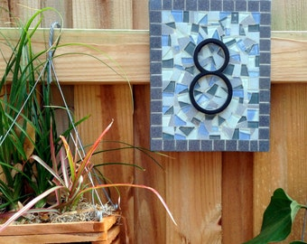 Gray House Number Sign, Mosaic Address Plaque
