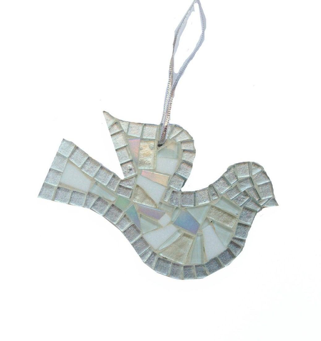Christmas Tree Doves: Christmas Tree Ornament White Dove Mosaic