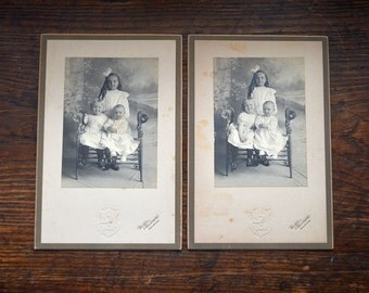 Antique Victorian pictures sisters black and white photographs three little girls set 1