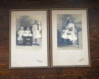 Antique Victorian pictures sisters black and white photographs three little girls set 2