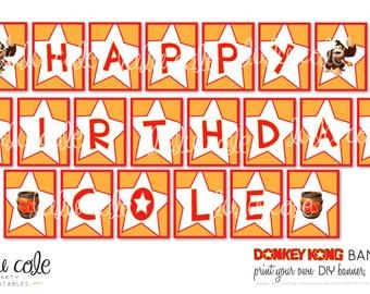 Donkey Kong DIY Printable Party Banner - Happy Birthday Banner