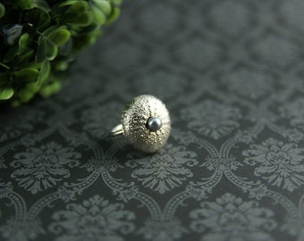 Sterling Silver Sea Urchin Ring with Freshwater Pearl