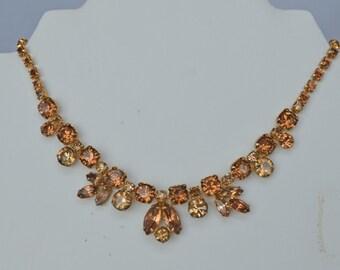 Stunning 1950s Signed Vintage REGENCY Necklace Amber Gold Prong Set Rhinestones Retro Glamourous Bridal  Pink Yellow