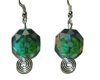 Green Earrings, Crystal Earrings, Costume Jewelry, Fashion Jewelry