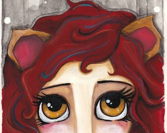 ZODIAC painting LEO girl with big yellow eyes + red mane of hair -  a thoughtful unique gift idea SHIPPING included