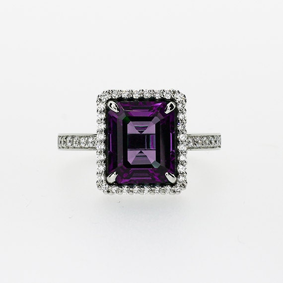 emerald cut amethyst halo engagement ring by torkkelijewellery