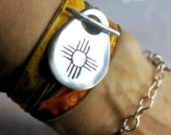 Zia Sun Silk Wrap Bracelet  Zia Wrap Bracelet Gift for Her