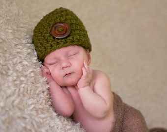 Baby Hat 0 to 3 Month Baby Girl Hat Baby Boy Hat Baby Clothes Wood Button Baby Beanie Olive Green Baby Hat Photo Prop Olive Baby Hat Gift