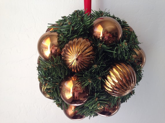 Evergreen Kissing Ball is made with Bronze Shatter Proof Ornaments, Christmas Kissing Ball, Valentine