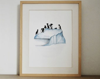 Original painting. Watercolor on paper.  Modern art. Animal art. Pinguins.