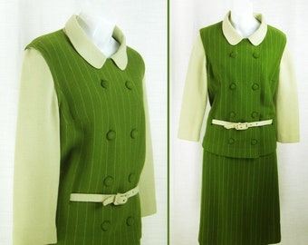 Vtg 60's – 70's  ~GIBI~ MOD Green Knit Coat, Skirt and Belt / Sweater Dress  sz M