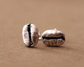 Handmade Coffee Bean Post Earrings - Sterling Silver - Fine Silver Post - Stud Earrings - Everyday - Gift - PMC