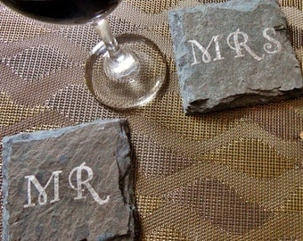 Wedding Mr and Mrs Slate Coasters (Set of 2) Wedding, Engagement, Anniversary, First Christmas
