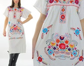 Mexican dress Oaxacan dress Boho dress Hippie dress Floral embroidered dress Festival dress Boho maxi dress short sleeve M