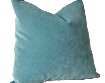 Designer Decorative Aqua Blue Pillow Cover - Blue Green Velvet Pillow Cover - Ocean Blue Pillow - Throw Pillow - Teal Pillow