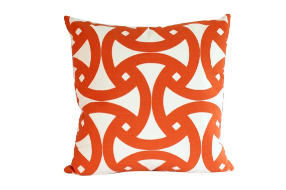 Santorini Orange Geometric Pillow Cover, Schumacher Fabric