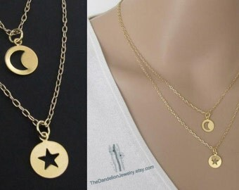 Jewelry, Strand Necklace, Double Layered Necklace set, Gold filled Moon Necklace, Star Necklace, Pendant Necklace, Gift