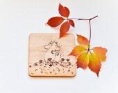 The Moomins Wooden Coaster - Woodburned Wood Coaster - Pyrography  Moomin Coaster - Romantic Gift