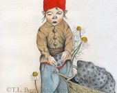 Little Gnome Collects Petoskey Stones - Gnome Art Print (reproduction), matted.